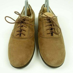 Comfort Walking Shoes Brown Suede Lace up Oxfords